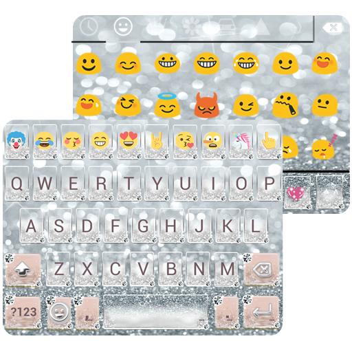 Silver Diamond Emoji Keyboard Wallpaper
