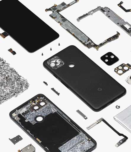 An image of a disassembled Google phone to show its technology and inner hardware.
