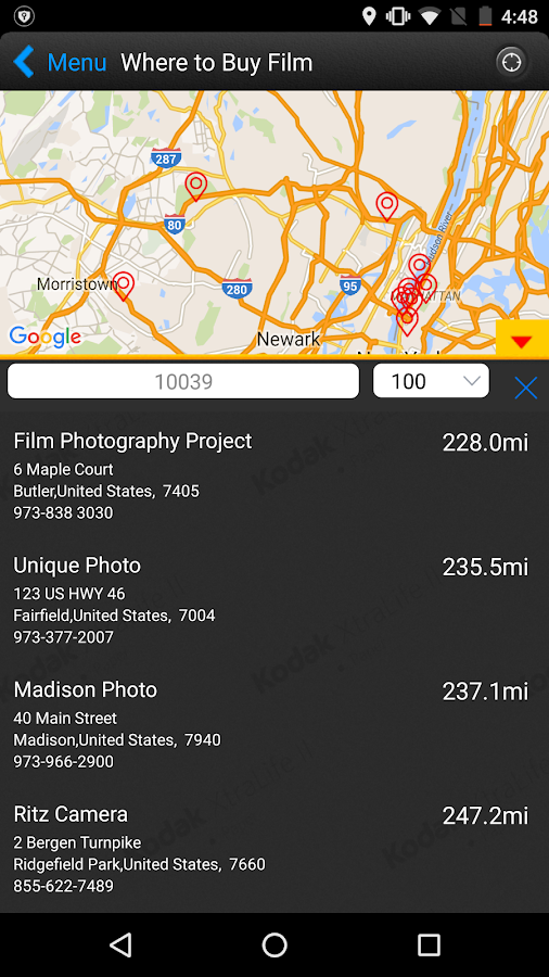 KODAK PROFESSIONAL Film App- screenshot