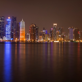 Doha skyline by Muhammad Habib Ul Haque - City,  Street & Park  Skylines ( skyline, skyscrapers, waterscape, doha, buildings, reflections, qatar, architecture, cityscape, middleeast, travel photography, nightscape,  )