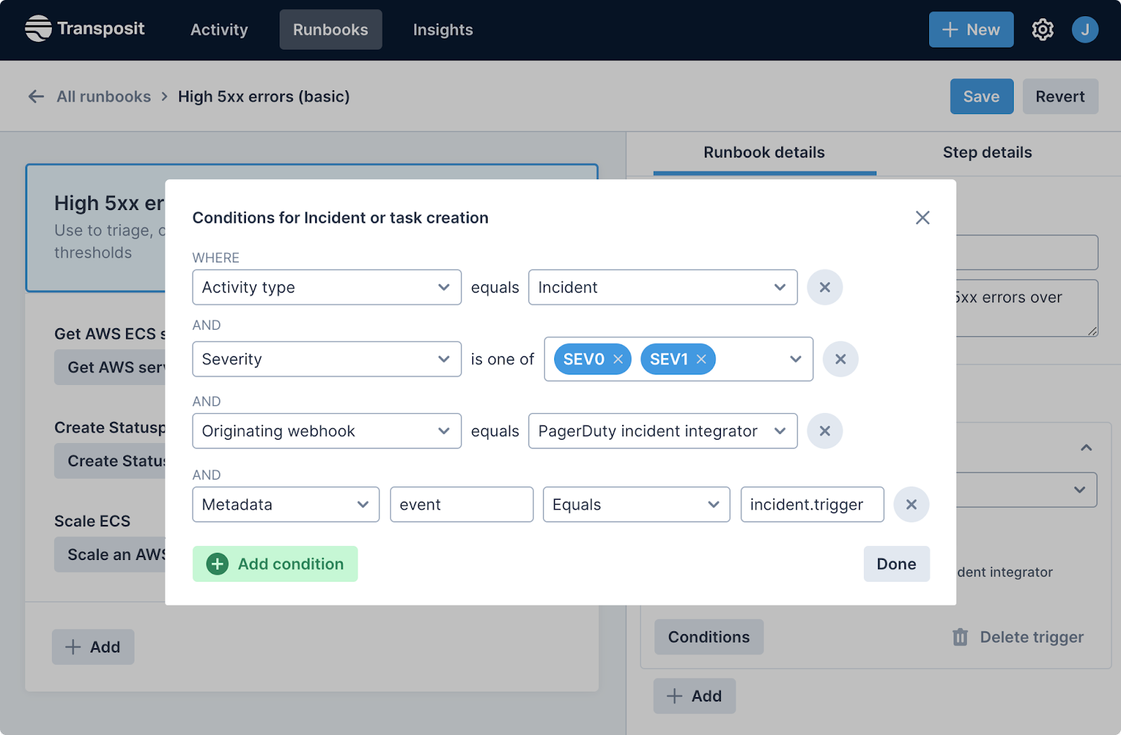 Transposit triggers for runbooks and actions