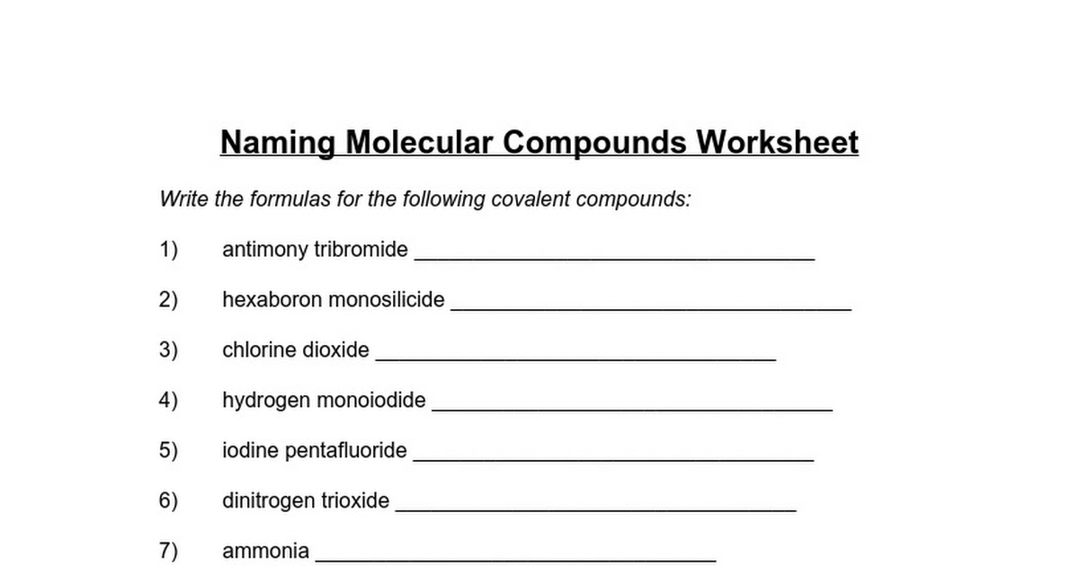 Mq09 Naming Molecular Compounds Worksheet Google Docs