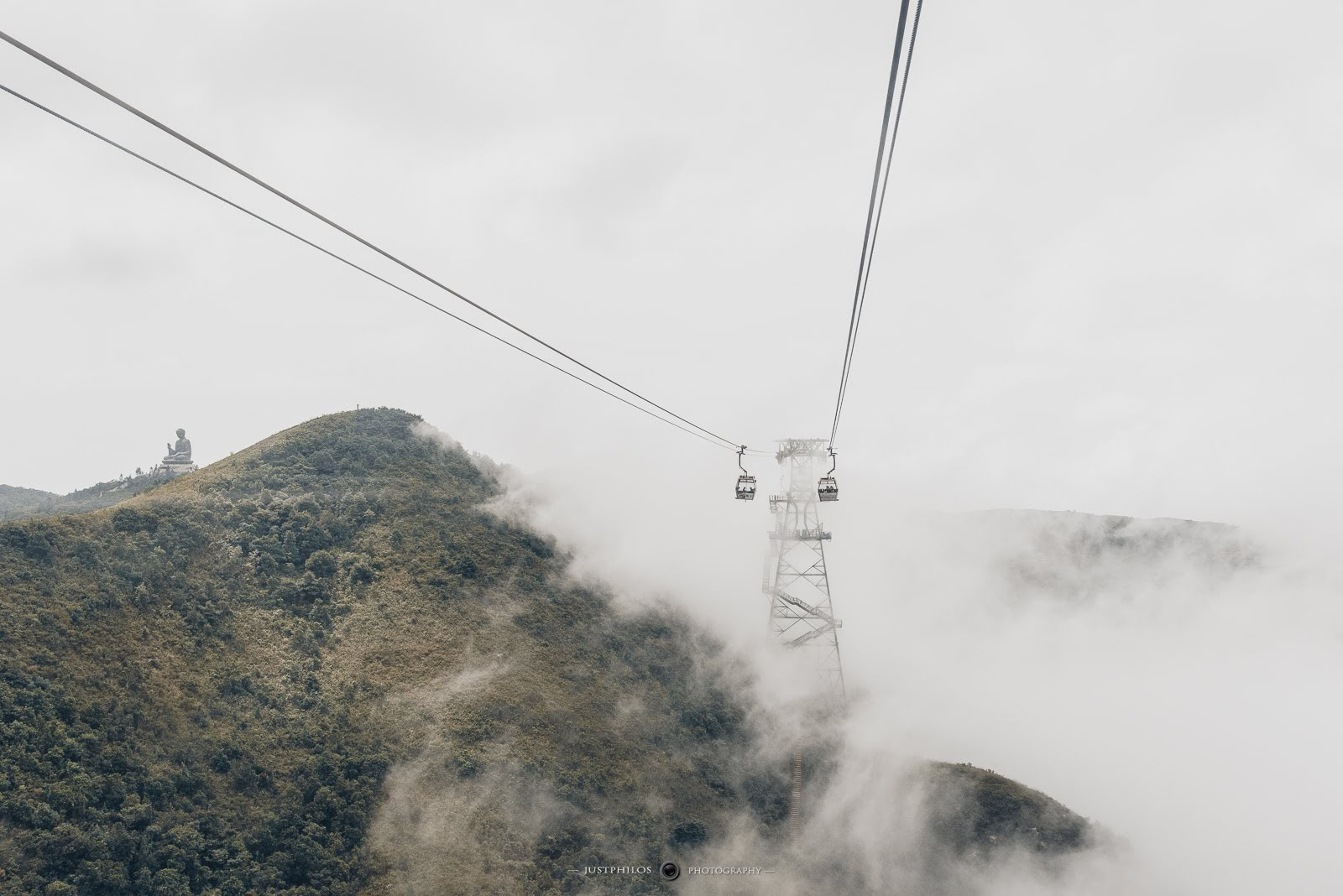 當天上午的天氣沒有很好,能見度相當差,但還是可見遠處的大嶼山大佛。
