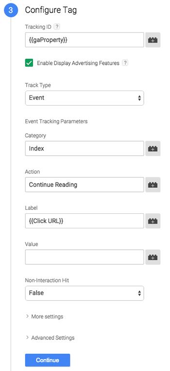 Tag configuration showing track type = event, category = index, and label = {{Click URL}}