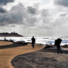 Mediterranean  by Nick Remick - City,  Street & Park  Street Scenes ( mediterranean, cloudy, blue, israel, people, sea )