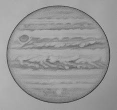 Photo: Jupiter le 14 avril 2017. Dessinée de 1h15 (moitié du haut) à 2h30 HL.  W2=315° pour SEB. T406 à 350X en bino. Bon seeing.
