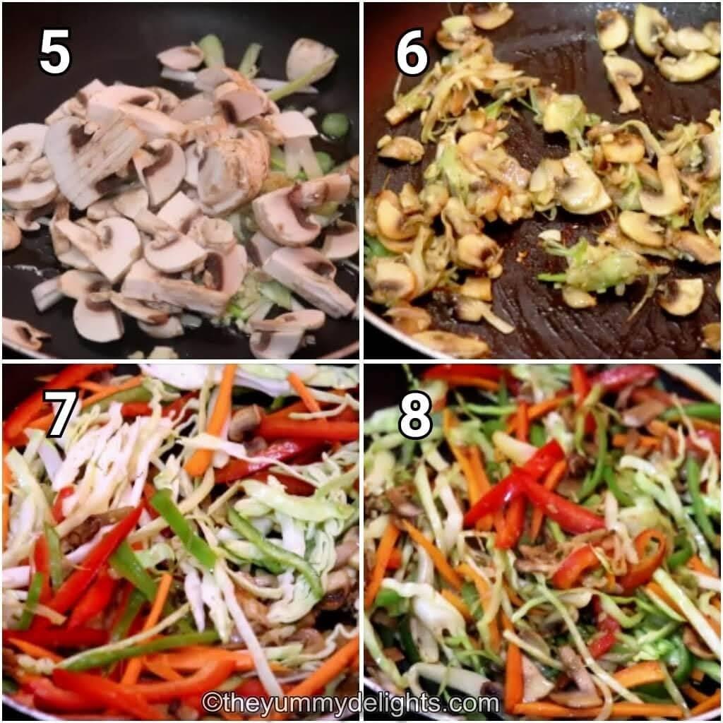 step by step image of stir-frying the mushrooms & vegetables.
