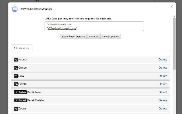 E21Web Shortcut Manager
