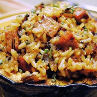 Acorn Squash with Wild Rice Pilaf and Polska Kielbasa.