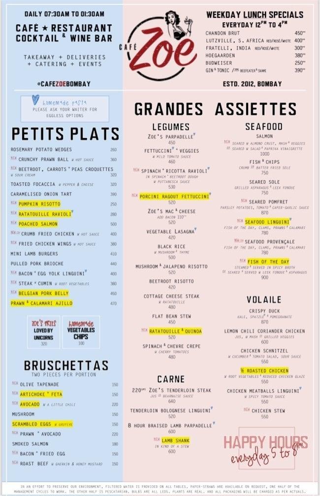 Cafe Zoe menu 3