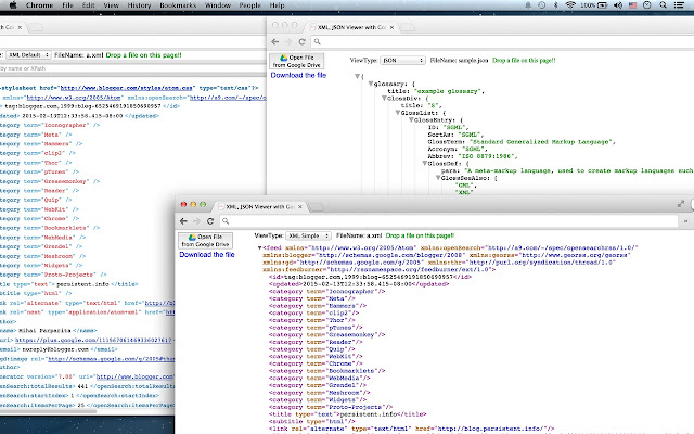 XML, JSON Viewer with Drive