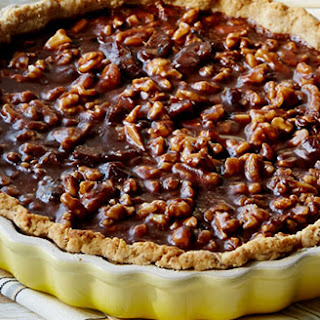 Dark Chocolate, Caramel and Date Tart with Walnut Crust