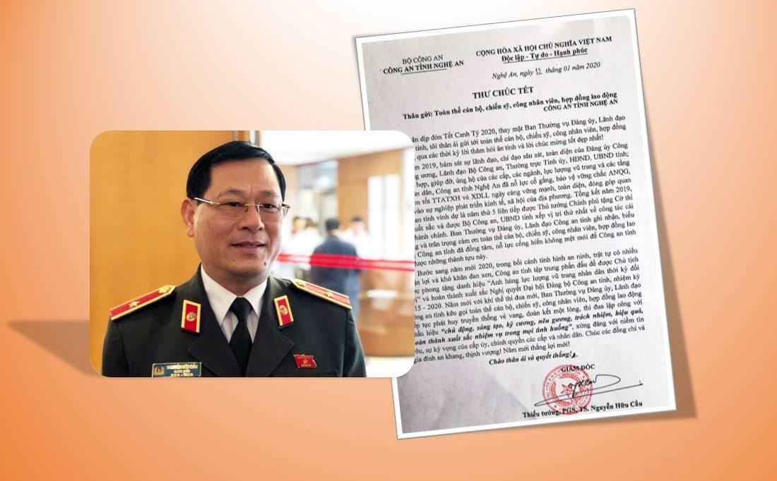 Thiếu tướng Nguyễn Hữu Cầu gửi thư chúc Tết CBCS Công an Nghệ An