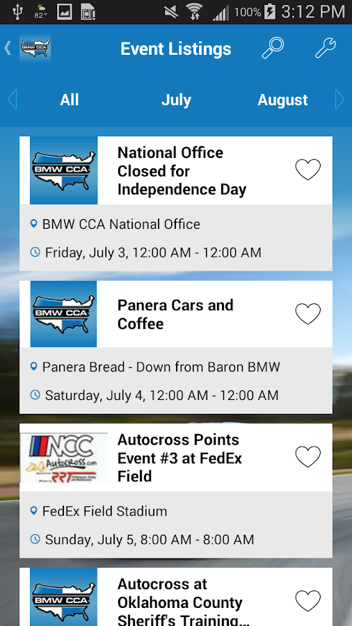 BMW Car Club of America- screenshot