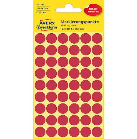 Etikett 12mm rund röd   270/fp