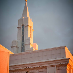 Sunset on the Bountiful Temple by Carrie Plastow - Buildings & Architecture Places of Worship ( temple, sunset, bountiful, golden hour )