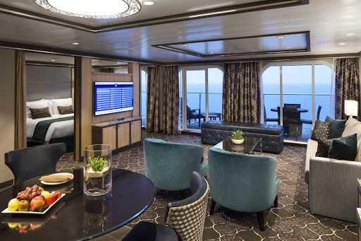 The living room of the Owner's Suite on Harmony of the Seas.