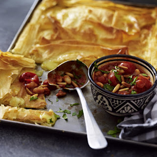 Cheese and Phyllo Pie with Rich Tomato Sauce.