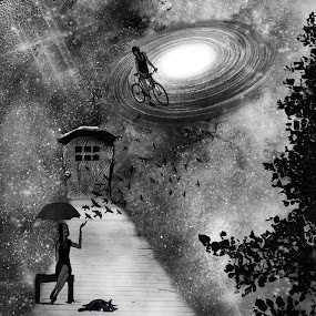 I must be dreaming by Heather G - Digital Art Things ( blackandwhite surreal fantasy )