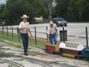 Photo: Art Morris and Bob Barnett bringing out more riding cars.  HALS 2012-0818 Rick White Photo