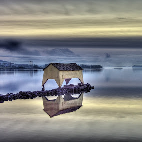 The old boathouse by Frøydis Folgerø - Landscapes Waterscapes ( winter, shelter, sunset, blue hour, boathouse, sea )