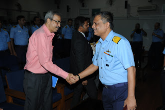 Photo: Mr. Mohiniraj Sutavani, CSI, being greeted by Rear Admiral P. C. Lal, Chief Technical Officer Commanding, Western Naval Command.