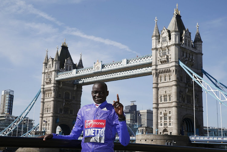 Kenya's Dennis Kimetto poses ahead of the 2016 Virgin Money London Marathon. He holds the world marathon record of 02:02:57, set in Berlin in 2014. Picture: REUTERS/PETER CZIBORRA