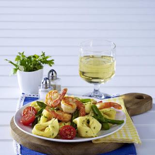 Tortellini with Asparagus and Shrimp.