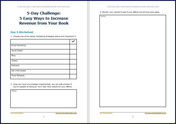 Promote & Market Your Business Book - Challenge Worksheet 3