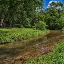 Log cabin on a creek by Joe Saladino - Landscapes Forests ( creek, stream, cabin, water, home )