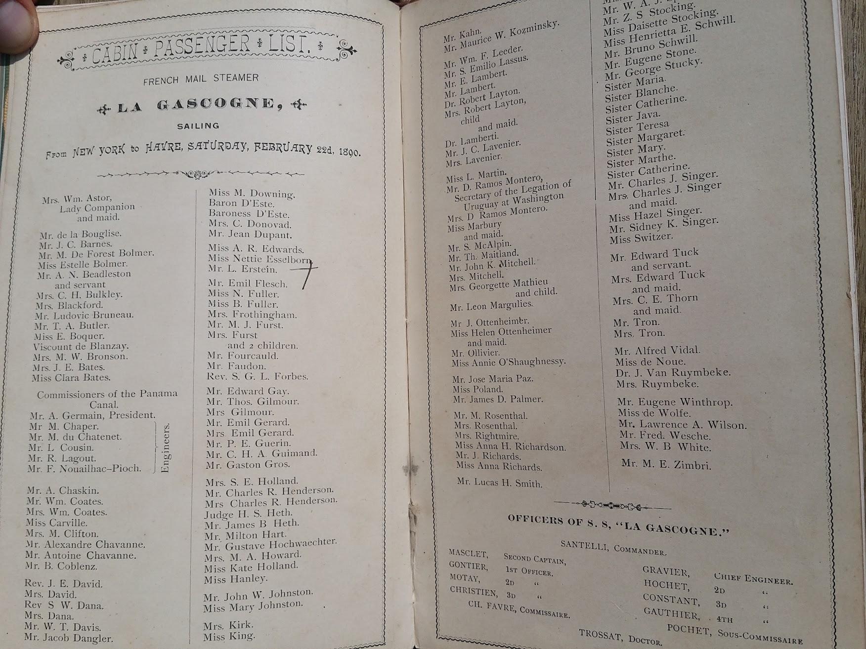 Compagnie Generale Transatlantique, New York - Le Havre - Paris, Passagierliste 1890 - La Gascogne