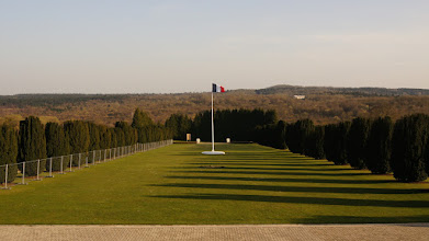 Photo: Standing on the steps of The Douaumont ossuary, looking out over the battlefields.