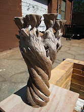 Photo: tree candelabra: seen here drying in the sunshine before going into the bisque kiln