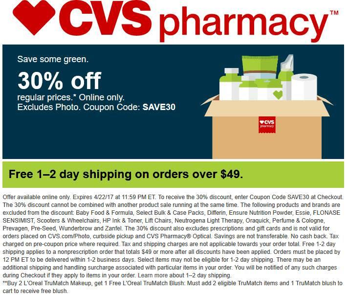 30 off online at cvs pharmacy via promo code save30 04 22 2017
