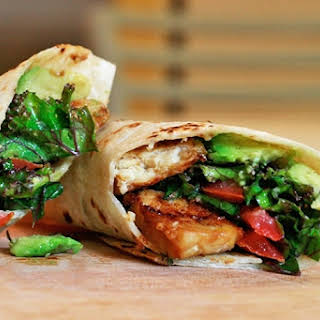 Kale Avocado Wraps with Spicy Miso-Dipped Tempeh.