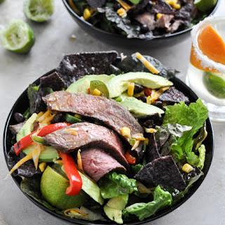 Tequila Lime Flank Steak Fajita Salad with Chile Lime Vinaigrette.