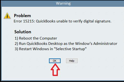 Warning : Problem Error 15215 : Quickbooks unable to verify digital signature