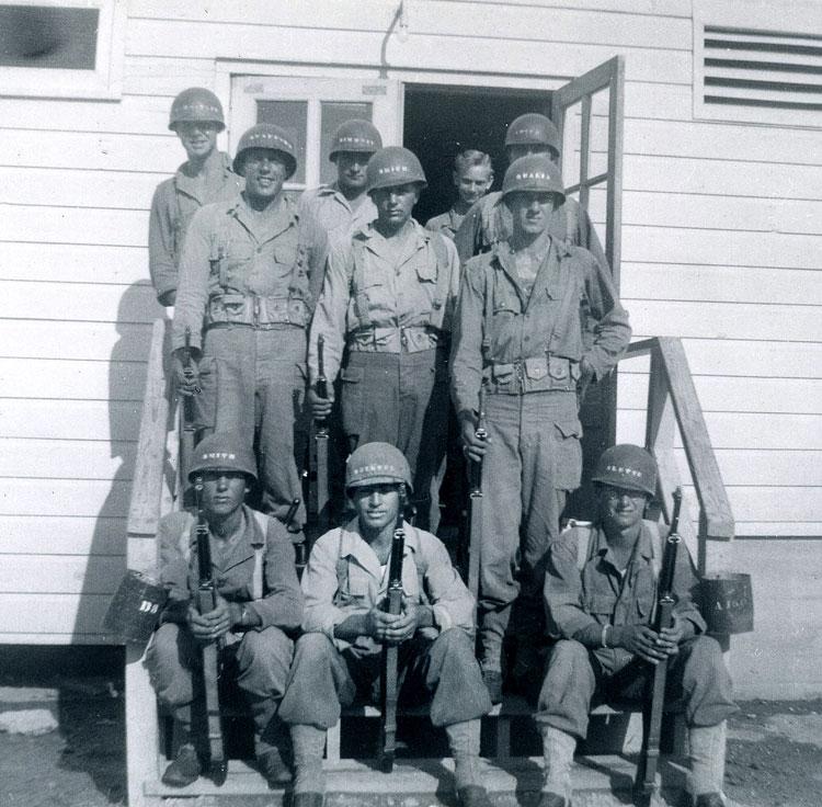 Joe (seated at center) at barracks at Camp Hood, Texas, 1944