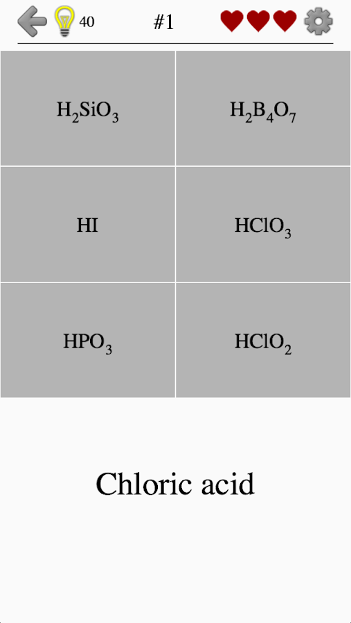 Inorganic Acids, Ions and Salts - Chemistry Quiz- screenshot