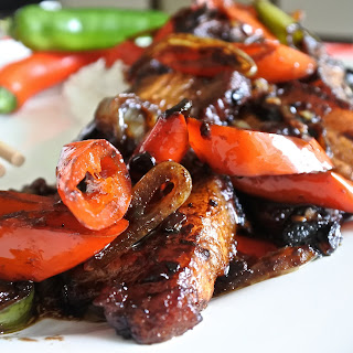 Black Bean Pork Belly and Pepper Stir-Fry.