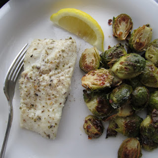 Parmesan-Coated Halibut and Spicy Sprouts.