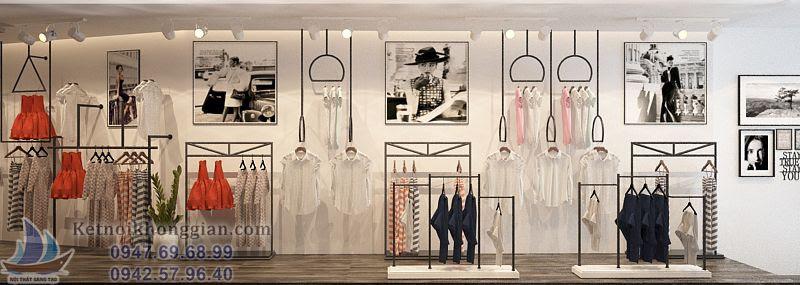thiết kế cửa hàng thời trang với tông màu đen trắng chủ đạo