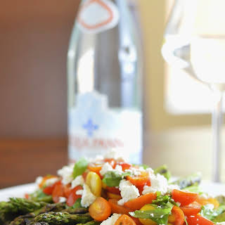 Grilled Asparagus with Tomato Salad and Goat Cheese.