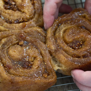 Whole Wheat Cardamom and Fig Sticky Buns with Salted Caramel Topping