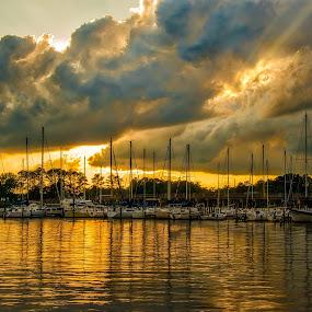 Marina at Bath by Robert Mullen - Transportation Boats ( water, clouds, sailboats, sunset, boats, sundown, reflections, marina, river,  )