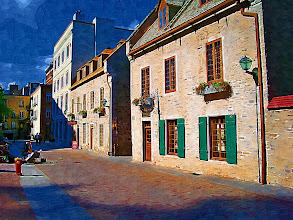 Photo: Street scene in Old Quebec City (note the artist in the street on the left). This is with a impasto effect. All prints are available as fine art prints on canvas or fine art paper. Contact photographer@visionairy.me for more information.