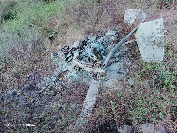 The scene where one person was killed after an aircraft belonging to the Kenya Wildlife Service was involved in a crash.