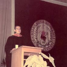 Photo: Robert F. Wagner presenting his commencement oration at Villanova University graduation ceremony, 1959.