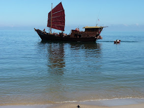 Photo: Ko Phangan motobiking around - boat at Haad Sadet beach