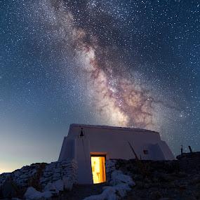 Pr. Ilias chappel by Grigoris Koulouriotis - Landscapes Starscapes ( building, sky, night photography, stars, long exposure, night, milky way )